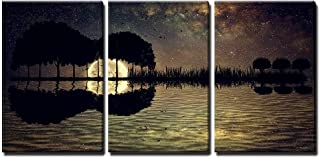 wall26 - 3 Piece Canvas Wall Art - Trees Arranged in a Shape of a Guitar on a Starry Sky Background in a Full Moon Night - Modern Home Decor Stretched and Framed Ready to Hang - 24