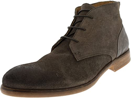 Mens H By Hudson Ryecroft Suede Lace Up Smart Formal Work Chukka botas - Stone - 10