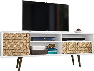 Manhattan Comfort Liberty Large Mid-Century Modern TV Stand, White/3D Print