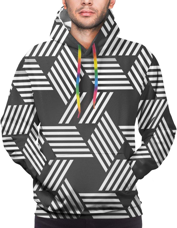 Men's Hoodies Sweatshirts,Abstract Art with Stripes and Hexagons Geometrical Irregular Design Illustration,Small