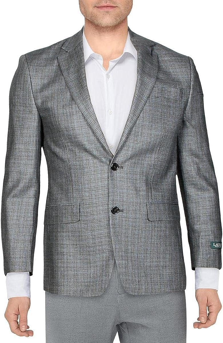 Lauren Ralph Lauren Mens Suit Separate Professional Two-Button Blazer Gray 36R