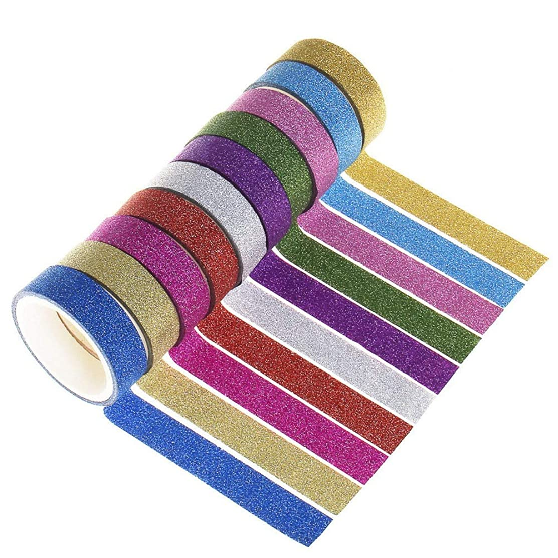 Wode Shop 10 Rolls Glitter Washi Paper Tape, Crafting Sticky Tapes Decorative Masking Adhesive Tape Label for DIY Crafts and Gift, 3 M