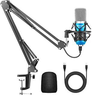 Neewer USB Microphone for Windows and Mac with Suspension Scissor Arm Stand, Shock Mount and Table Mounting Clamp Kit for ...