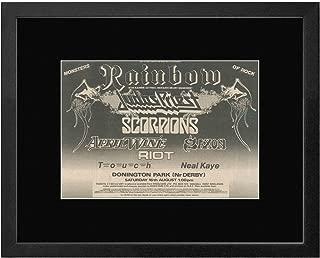 NME Rainbow Judas Priest Scorpions Saxon - 1980 Monsters of Rock Donington Park Framed Mini Poster - 33.5x44cm