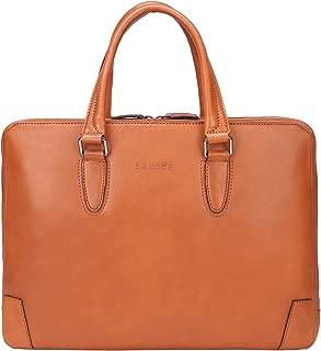 Banuce Full Grains Italian Leather Briefcase for Men Women Attache Case Tote Handbags 14 Inch U-zip Laptop Business Bag Ladies Purses