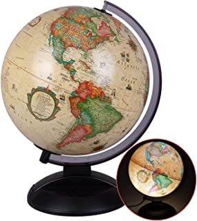 Illuminated World Globe - Antique Light Up Rotating Globe with Plastic Base - Vintage Style Globe for Kids, Teachers, and Classrooms