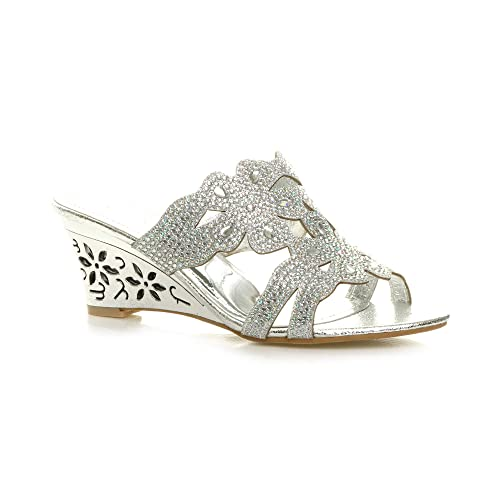 a8338a6d4 Womens Ladies mid high Heel Wedge Diamante Evening Bridal Wedding Prom  Mules Shoes Sandals Size