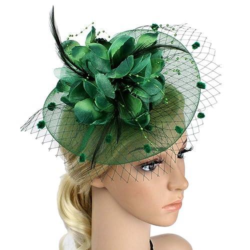 JasmineLi Wedding Fascinator Tea Party Hats Flower Feather Veils Fascinator  Hat 8c0fcf68899