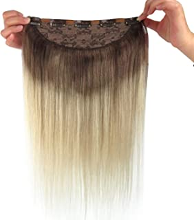 Remeehi Invisible Halo Hair Extensions No Clip No Glue Remy Human Hair Extensions For Women Light Color