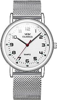 ساعات معصم للرجال من OLMECA ساعة تناظرية كوارتز مقاومة للماء من الفولاذ المقاوم للصدأ سوار شبكي بسيط للرجال 709wd