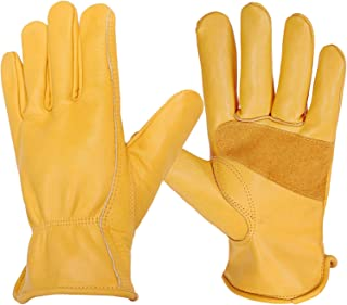 Leather Work Gloves, Utility Grain Cowhide Flex Grip Gloves Elastic Wrist for Yard, Farm, Construction, Warehouse and More 1 Pair (Gold, Large)