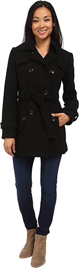 Double Breasted Belted Wool Trench Coat