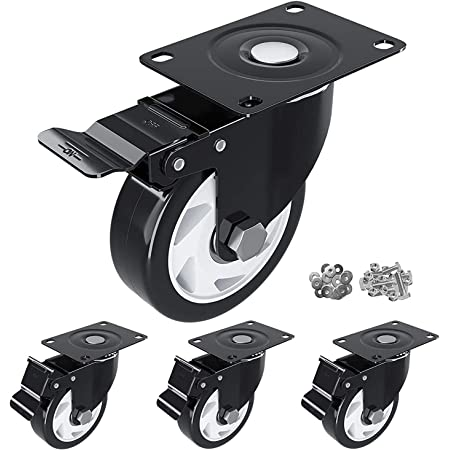 """HOSOM 3"""" Swivel Caster Wheels with Safety Dual Locking, Polyurethane Foam Wheels No Noise, Heavy Duty Wheels for Cart, Workbench and Furniture, 250lbs Per Caster, Set of 4"""