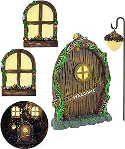 Miniature Gnome Fairy House Window and Door for Trees, Glow in The Dark Yard Art Garden Sculpture Lawn Ornament Decoration Mini Fairy Garden Outdoor Decor Accessories with Bonus Fairy Lantern