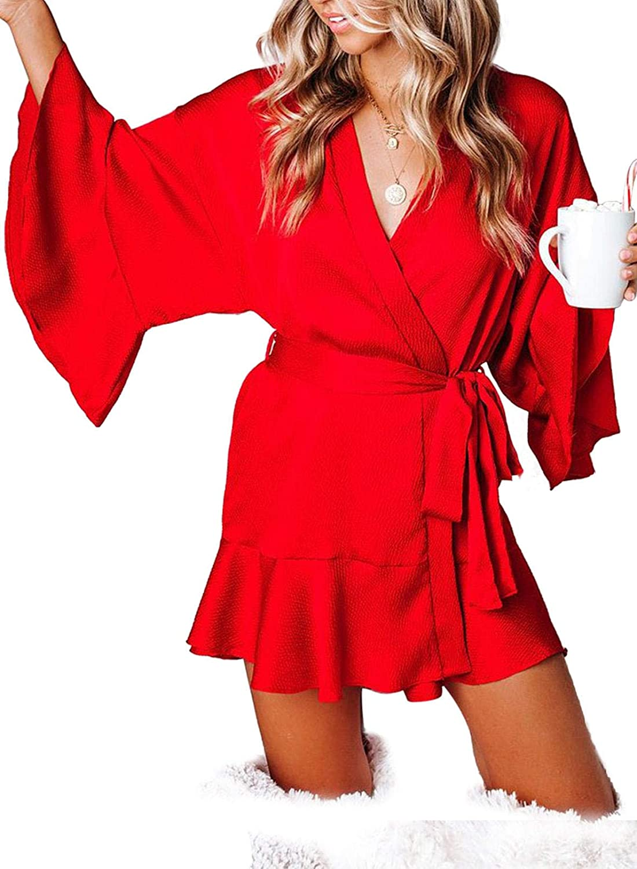 Acelitt Womens Silk Satin V Neck Ruffle Hem Kimono Robes Bathrobe Sleepwear