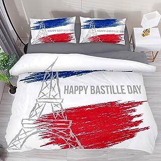 Moily Fayshow Happy Bastille Day California Juego de sábanas Estampadas de 3 Piezas Juego de Funda nórdica con Colcha de Cama con 1 Funda nórdica y 2 Fundas de Almohada Fundas