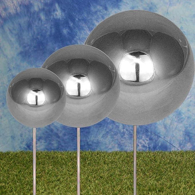 Gebr/üder Lomprich Edelstahlkugel poliert mit anschraubbaren Stab 180 mm Durchmesser