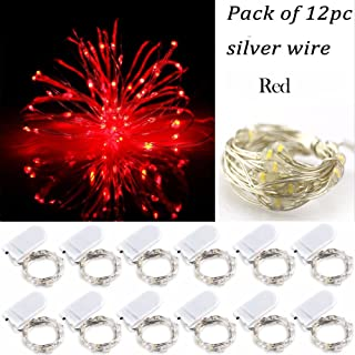 LRCXL Pack of 12 LED Battery Operated Lights 20 Micro Starry LEDs on Silver Wire,2 x CR2032 Batteries Included,6.5 Ft (2m) for Halloween Party DIY Wedding Centerpiece or Table Decorations (Red)