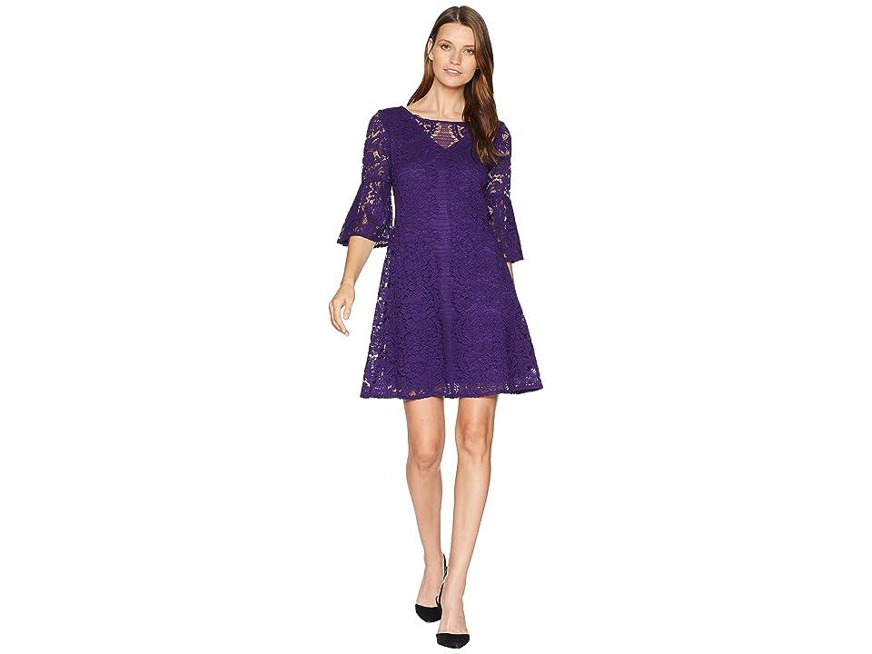 Gabby Skye Scallop Lace Pattern Dress (Purple) Women