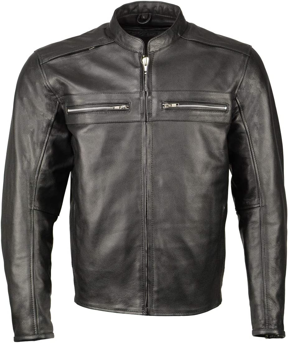 M Boss Motorcycle Apparel BOS11509 Men's Black Armored Leather Cafe Racer Jacket - 4X-Large