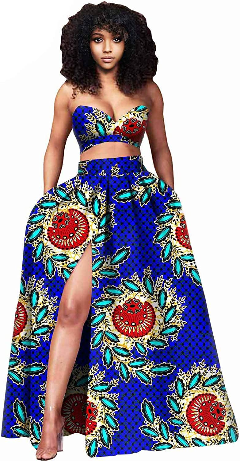 African Clothes for Women Crop Top and Maxi Skirt 2 Piece Set Sleeveless Women Blouse Sexy Party Outfits