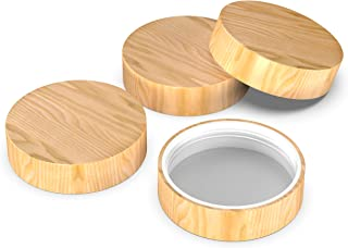 Wooden Mason Jar Lids - 4 Mason Jar Lids Regular Mouth (Rubberwood) - Custom Molded Screw Top Mason Jar Lid Set Compatible Canning Lids for Kerr and Ball Jar Lids by Kitchen Charisma