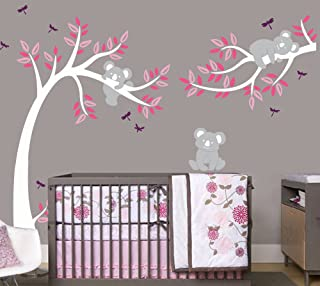 LHKSER Nursery Koala Tree Wall Stickers/ARGE Tree Cartoon Animals Koala Wall Decals/Children's Room Nursery Removable Vinyl Decals Mural Art Decoration (White Pink)
