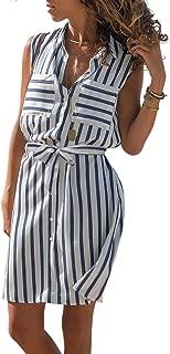 Asvivid Womens Casual Sleeveless V Neck Button Down Pocket Loose Shirt Midi Dress with Belt