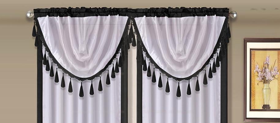 GorgeousHomeLinen (AMY) 1 Black White Elegant Faux Silk Rod Pocket Swag Waterfall Dressing Valance with Tassels, 55