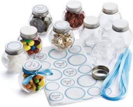 Hayley Cherie - 3 oz Round Glass Jars with Blue Ribbons and Stickers (Set of 10) - Silver Leak Proof Lids - Perfect for Candy, Spices, Baby Showers, Party Favors, Christmas and Birthdays (Blue)