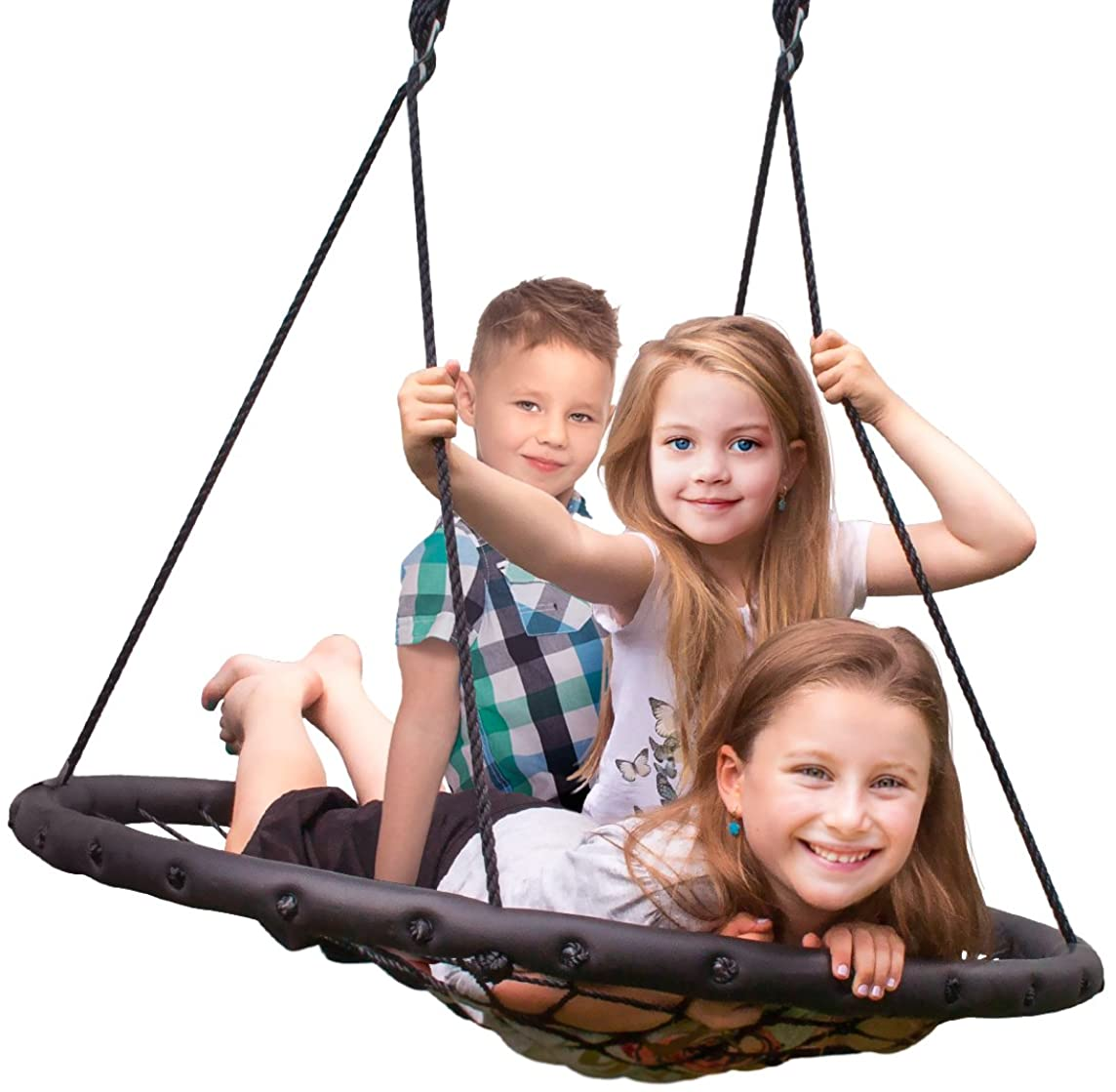 Sorbus Spinner Swing – Kids Indoor/Outdoor Round Web Swing – Great for Tree, Swing Set, Backyard, Playground, Playroom – Accessories Included (40