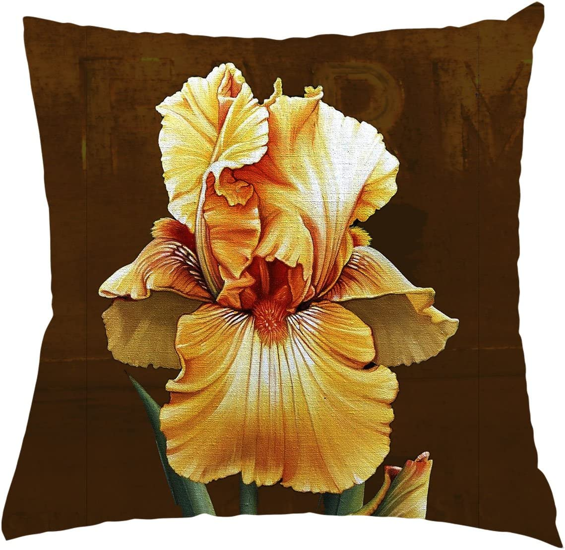 Amazon Com Flower Throw Pillow Cover Beautiful Flower Gold Lris Background For Couch Sofa Bed Car Seats Home Decorative Throw Pillow Case 24 X24 Home Kitchen