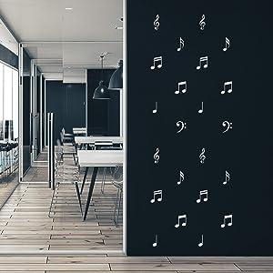 Set Of 23 Vinyl Wall Art Decal - Musical Notes Pattern - 3.5