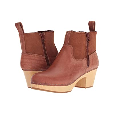 Swedish Hasbeens Zip It Shearling Boot (Cognac) Women