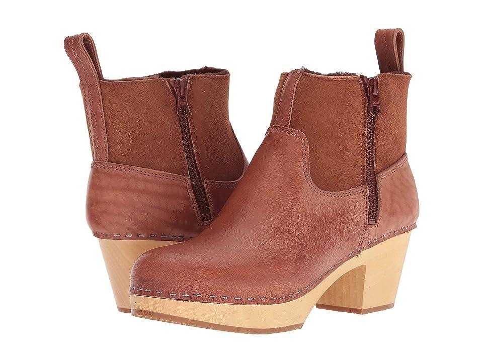 Swedish Hasbeens Zip It Shearling Boot (Cognac) Women