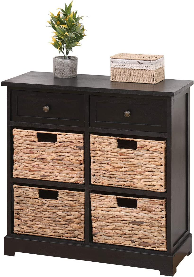 MELLCOM Storage Washington Mall Cabinet Retro Style Max 43% OFF Dr Chest 2 with Wood
