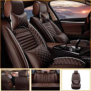Jiahe Car Seat Cover for Honda Civic Insight CR-V Legend Spirior Universal Car Seat Protectors 5-Seat Full Set Artificial Leather Waterproof,Easy Install,Coffee Deluxe