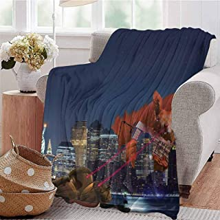 CRANELIN Digital Printing Blanket Cartoon Like New York City Scenery with a Big Laser Eyed Cute Squirrel Image Print Multicolor Dorm Bed Baby Cot Traveling Picnic W70 xL84