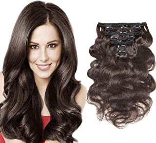 """Urbeauty 12"""" Wavy Clip in Real Hair Extensions Dark Brown 7Pcs/70g Full Head Body Wave Remy Clip in Human Hair Extensions Triple Weft"""