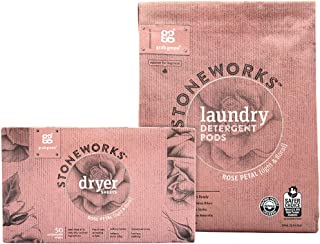 Grab Green Stoneworks Laundry Detergent Pods and Dryer Sheet Kit, Powered by Naturally-Derived Plant & Mineral-Based Ingredients, Rose Petal, 50 Loads