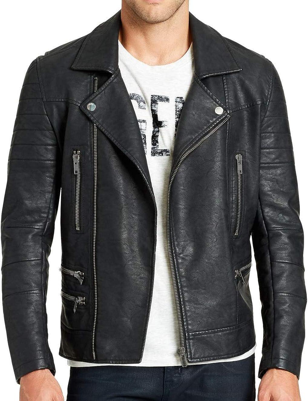 Gloria Vanderbilt Men's Nightshade Pu Leather Moto Jacket, Black, Medium