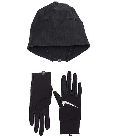 Nike Essential Running Hat and Glove Set (Black/Black/Silver) Gore-Tex Gloves