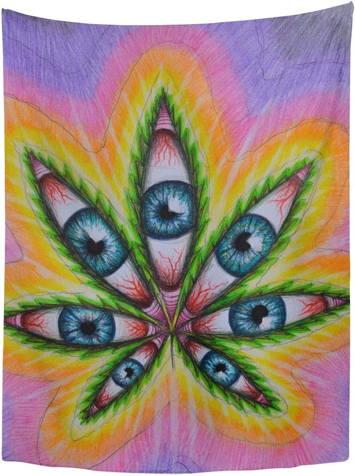 Dimmo Tapestry Trippy Alien Smoke and Chill in Bath Smoke Glasses Home Decor Wall Hanging for Living Room Bedroom Dorm 50x60 Inches.