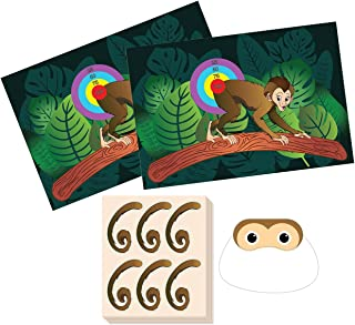 Pin The Tail on The Monkey Birthday Game - Jungle Theme Party Supplies, Zoo Party Favors, Fun for All Ages, 2 Game Posters, 1 Blindfold Mask, 5 Sheets, 30 Tail Stickers