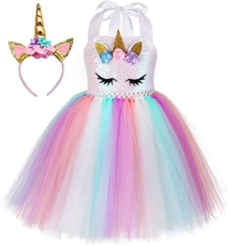 Tutu Dreams Sequin Unicorn Dress for Girls 1-10Y with Headband Birthday Easter Tea Party Gifts Spring Dance Dresses