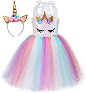 Sequin Unicorn Dress for Girls 1-10Y with Headband...