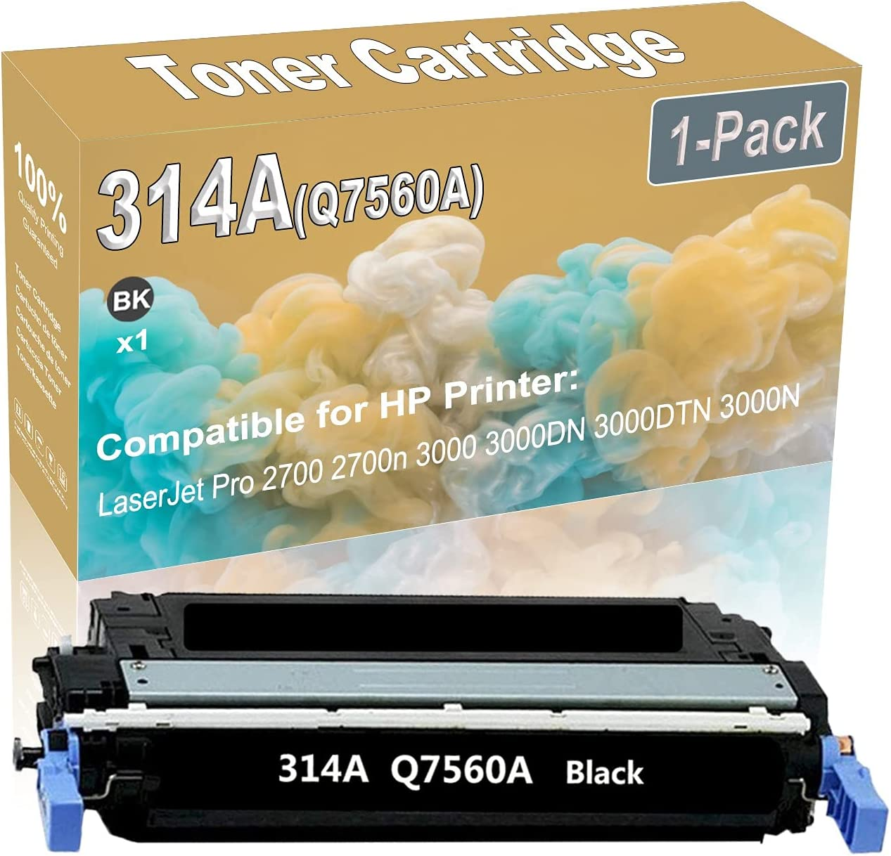 1-Pack (Black) Compatible High Yield 314A (Q7560A) Printer Toner Cartridge use for HP 2700 2700n 3000 Printers