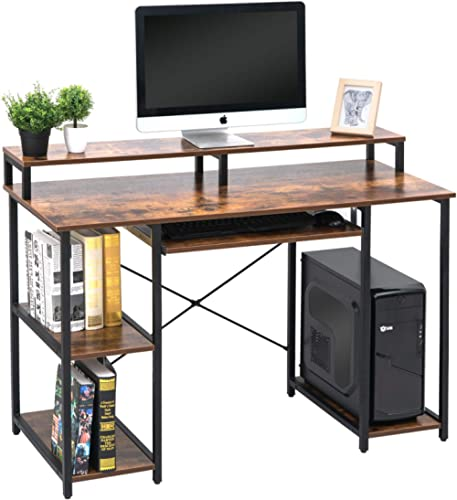 TOPSKY Computer Desk with Storage Shelves/Keyboard Tray/Monitor Stand Study Table for Home Office (Industrial/Rustic ...
