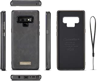 Genuine Leather Phone Wallet Bag Cover Case For Samsung Galaxy Note 9 - Black