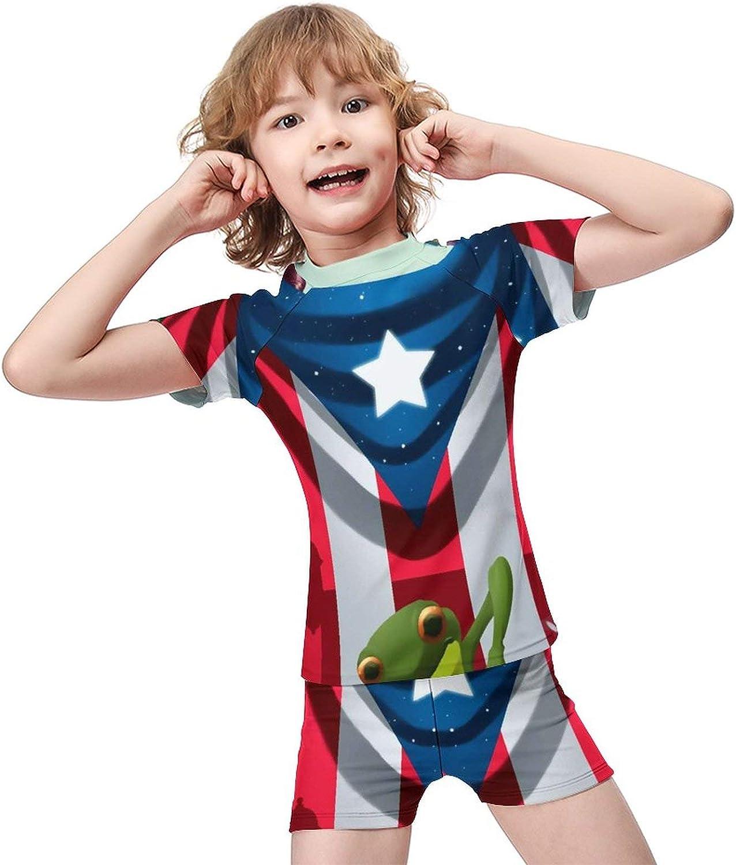 Yiaoflying Kids Boys 2 Piece Swim Set - Mi Bandera Puerto Rico Frog Flag Rashguard Swimsuit Trunks
